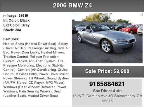 2006 BMW Z4 Roadster 3.0i 6 SPEED MANUAL 61K MILES HARD TO FIND for sale in Sacramento , CA