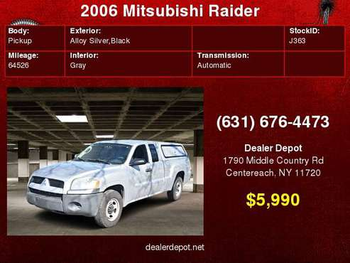 2006 Mitsubishi Raider Ext Cab V6 Auto LS for sale in Centereach, NY