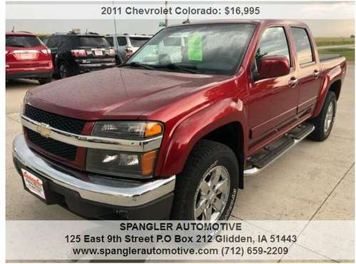 2011 CHEVY COLORADO LT*CREW CAB*94K*Z71*BED COVER*4WD*VERY CLEAN!! for sale in Glidden, IA