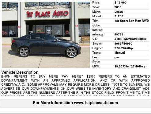 2010 Lexus IS 250 4dr Sport Sdn Auto RWD for sale in Watauga (N. Fort Worth), TX