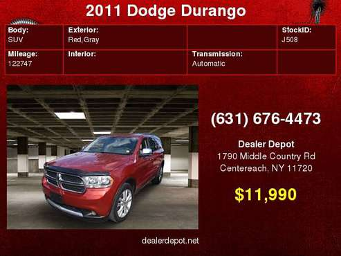 2011 Dodge Durango AWD 4dr Crew for sale in Centereach, NY