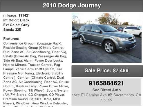 2010 Dodge Journey R/T AWD HARD TO FIND 3RD ROW SEAT for sale in Sacramento , CA