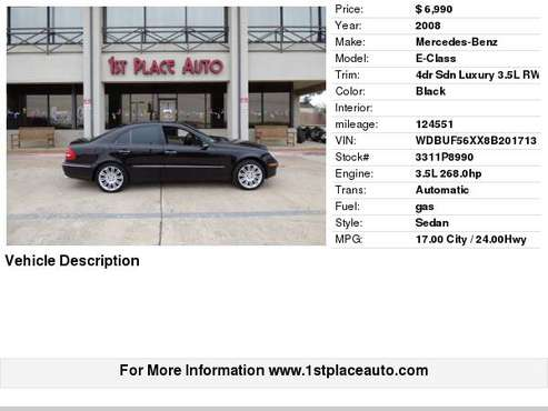 2008 Mercedes-Benz E-Class 4dr Sdn Luxury 3.5L RWD for sale in Watauga (N. Fort Worth), TX
