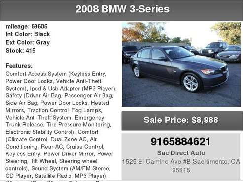 2008 BMW 3 Series 328I 69K MILES ONLY 6 SPEED MANUAL (HARD TO FIND) for sale in Sacramento , CA