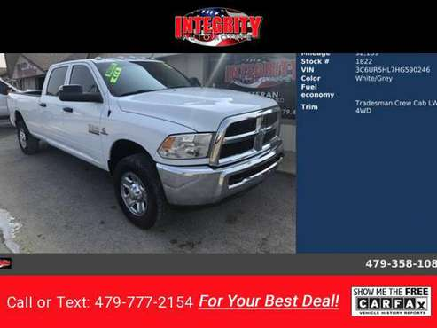 2017 RAM 2500 Tradesman Crew Cab LWB pickup White for sale in Bethel Heights, AR