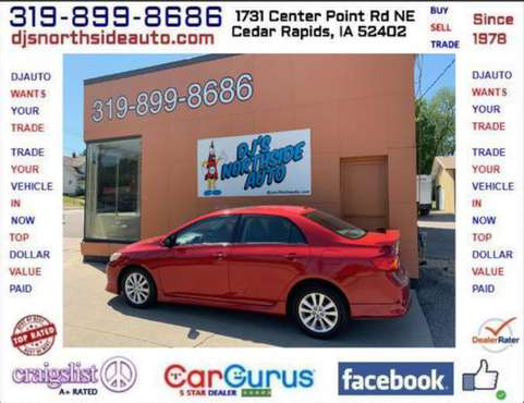 2010 TOYOTA COROLLA 'S' 5-SPEED MANUAL SUNROOF ONLY 115K MILES for sale in Cedar Rapids, IA