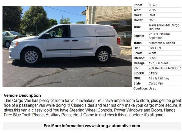 2015 RAM C/V Tradesman 4dr Cargo Mini Van for sale in Watertown, WI – photo 18